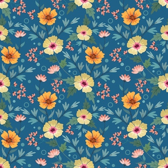 Colorful hand draw flowers on blue seamless pattern