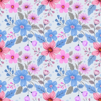 Colorful hand draw flowers design seamless pattern for fabric textile wallpaper.