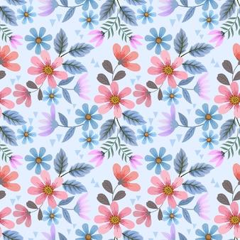 다채로운 손으로 그리는 꽃은 직물 직물 벽지 포장지에 대한 매끄러운 패턴을 디자인합니다.