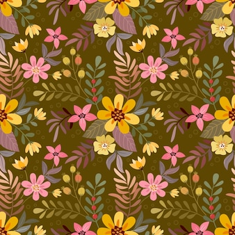カラフルな手描きの花は、ファブリックテキスタイルの壁紙の茶色のシームレスなパターンに。