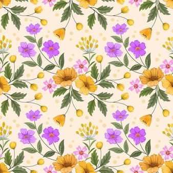 カラフルな手描きの花を黄色の背景にシームレスなパターンのファブリックテキスタイル壁紙。