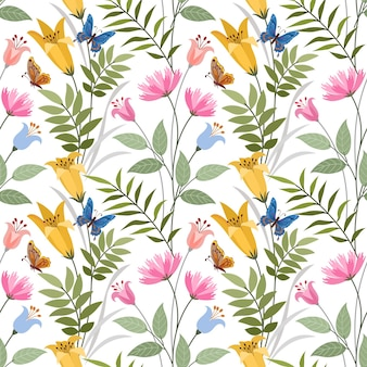 Colorful hand draw flowers seamless pattern for fabric textile wallpaper.