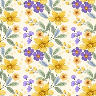 カラフルな手は、布繊維の壁紙のための花のシームレスなパターンを描画します。