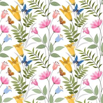 다채로운 손 직물 섬유 벽지 꽃 원활한 패턴을 그립니다.