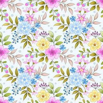 カラフルな手描きの花のシームレスなパターンのファブリックテキスタイル壁紙。