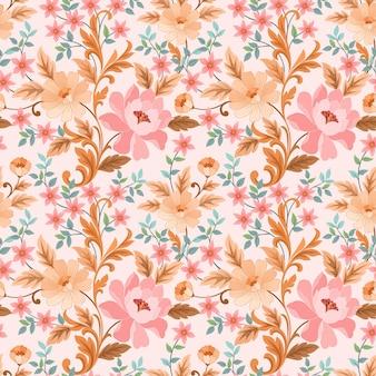 カラフルな手描きの花のシームレスなパターンの壁紙。