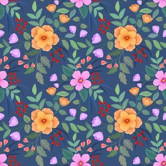 다채로운 손으로 꽃 원활한 패턴 벽지를 그립니다.
