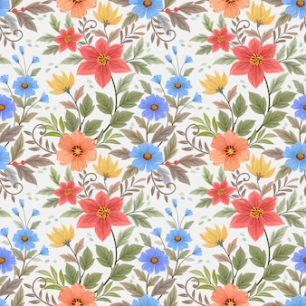 Colorful hand draw flowers seamless pattern   wallpaper.
