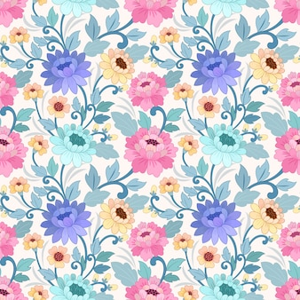 Colorful hand draw flowers seamless pattern