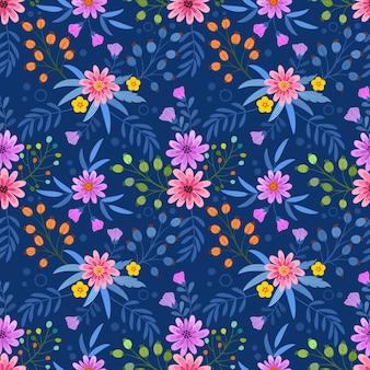 Красочная рука рисовать цветы бесшовный фон