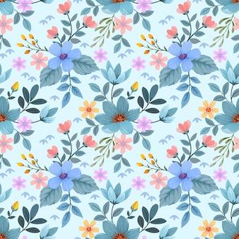 カラフルな手描きの花のシームレスなパターン