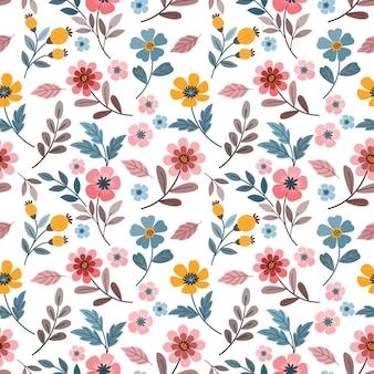 다채로운 손으로 그리는 꽃 원활한 패턴