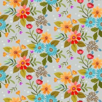 Красочные руки нарисовать цветы бесшовный фон
