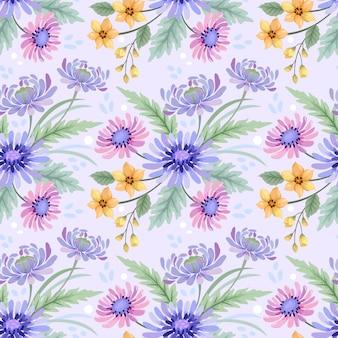 Красочные руки нарисовать акварелью цветы бесшовный фон