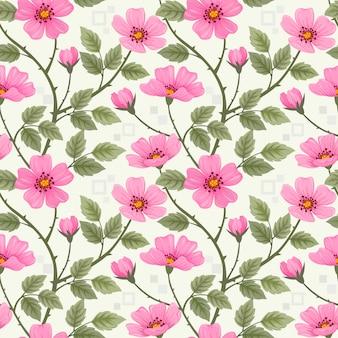 Красочные руки нарисовать дикие розы цветы бесшовный фон