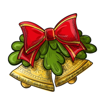 白い背景の上のカラフルな手描きのクリスマスの鐘。