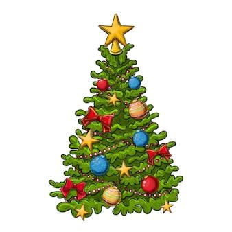 白い背景の上のカラフルな手描きのクリスマスツリー。