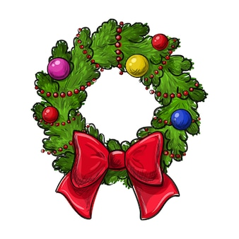 Colorful hand drawing christmas wreath on a white background.