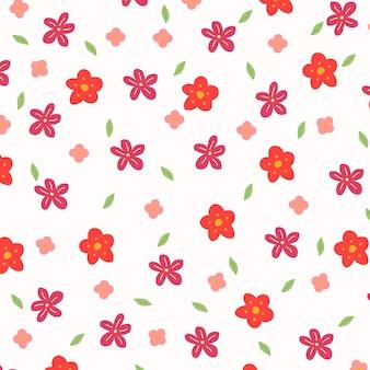 カラフルな手描きの花柄の背景。