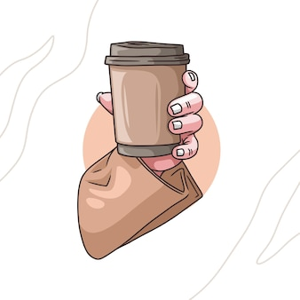 Colorful hand drawing of hands holding coffee