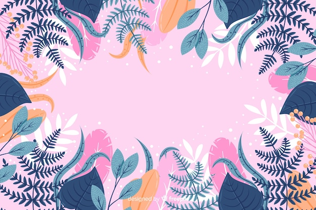 Colorful hand drawn abstract floral background