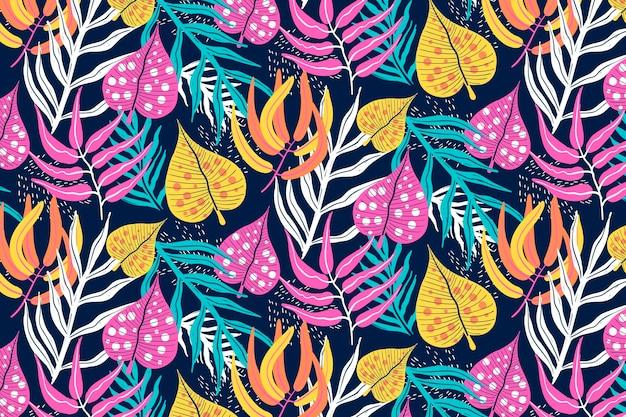 彩色手绘抽象树叶图案