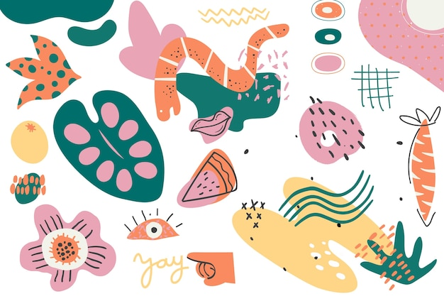 Colorful hand drawn abstract organic shapes background