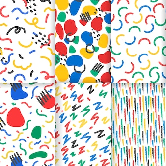 Colorful hand drawn abstract pattern set