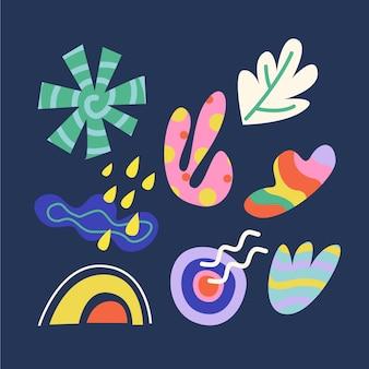 다채로운 손으로 그린 추상 모양 세트