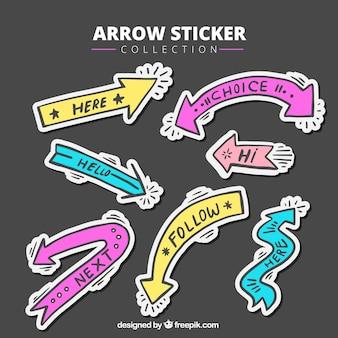 Adesivi colorati freccia disegnata a mano con i messaggi