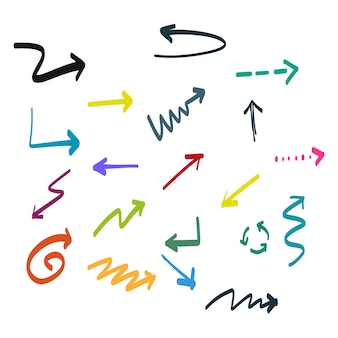 Colorful hand drawn arrows
