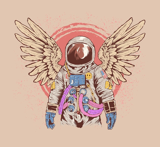 Colorful hand drawn astronaut illustration with wings