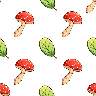 Красочные рисованной осенние листья и гриб бесшовный фон фон