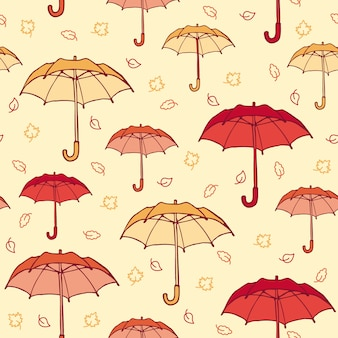 Colorful hand drawn autumn seamless pattern