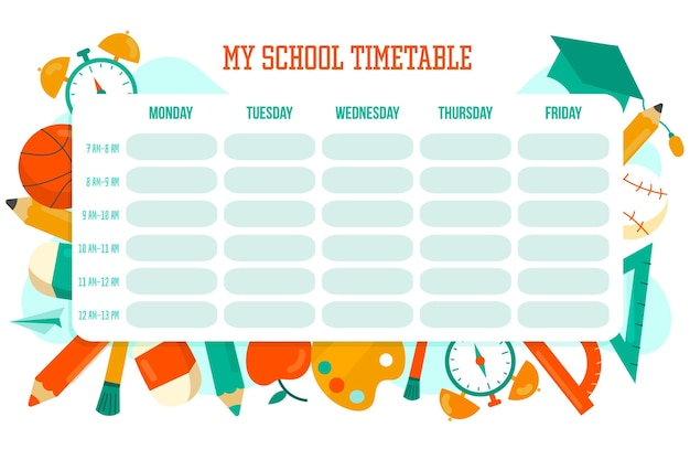Colorful hand drawn back to school timetable