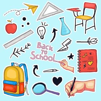 Красочная рисованная коллекция наклеек обратно в школу