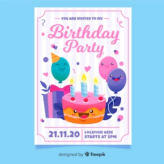 Colorful hand drawn birthday invitation template