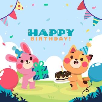 다채로운 손으로 그린 생일 초대장