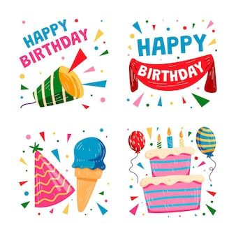 Collezione di adesivi colorati disegnati a mano per feste di compleanno