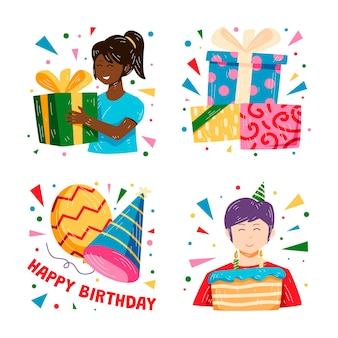Colorful hand drawn birthday party stickers collection