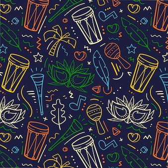 Colorful hand drawn brazilian carnival pattern