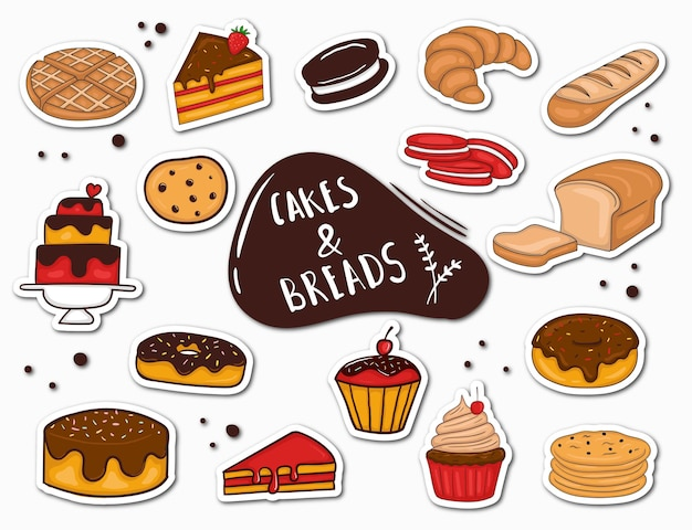 Colorful hand drawn bread and cake stickers