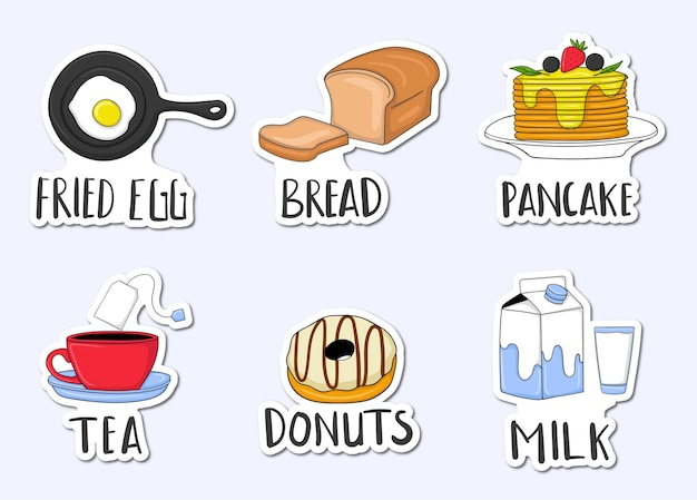 Colorful hand drawn breakfast menu stickers collection