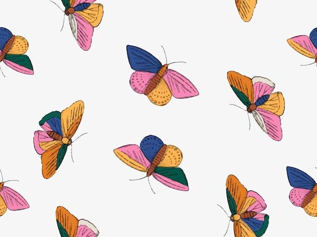 직물 섬유 벽지 배너 소셜 미디어에 대한 다채로운 손으로 그린 나비 원활한 패턴