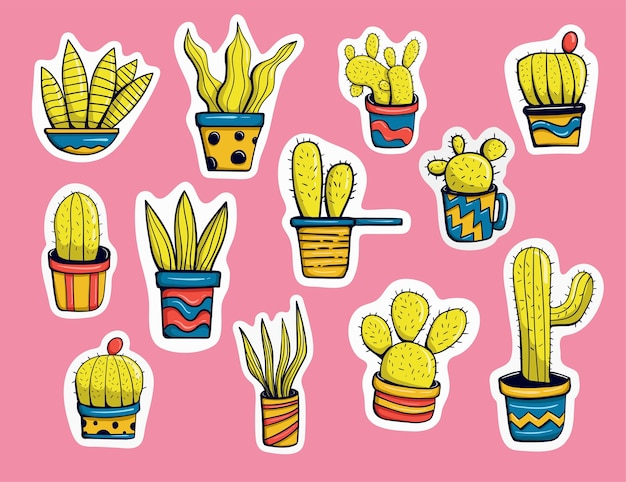 Colorful hand drawn cactus stickers collection
