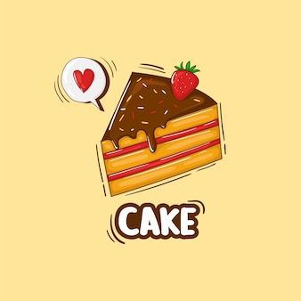 Красочные рисованной иллюстрации торт Premium векторы