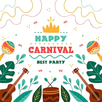 Colorful hand drawn carnival party