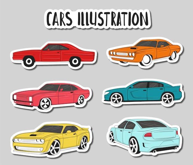 カラフルな手描きの車のイラスト