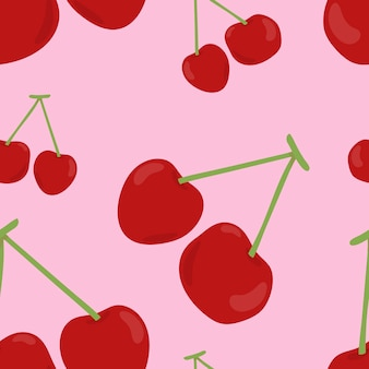 Colorful hand drawn cherry pattern