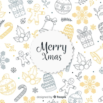 Colorful hand drawn christmas background
